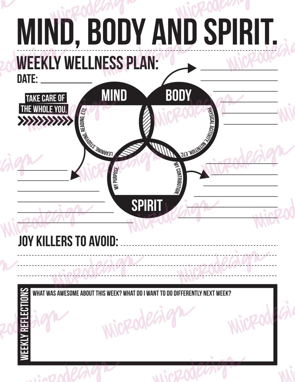 mind body spirit: weekly wellness plan downloadable goal