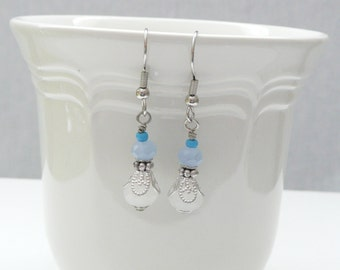 ndb-White ,Blue and Silver Beaded Dangle Earrings