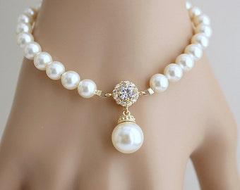 Wedding Bracelet, Gold Wedding Jewelry, Pearl Gold Bridal Bracelet, Pearl Drop Bracelet, Cubic Zirconia Bracelet, Alena