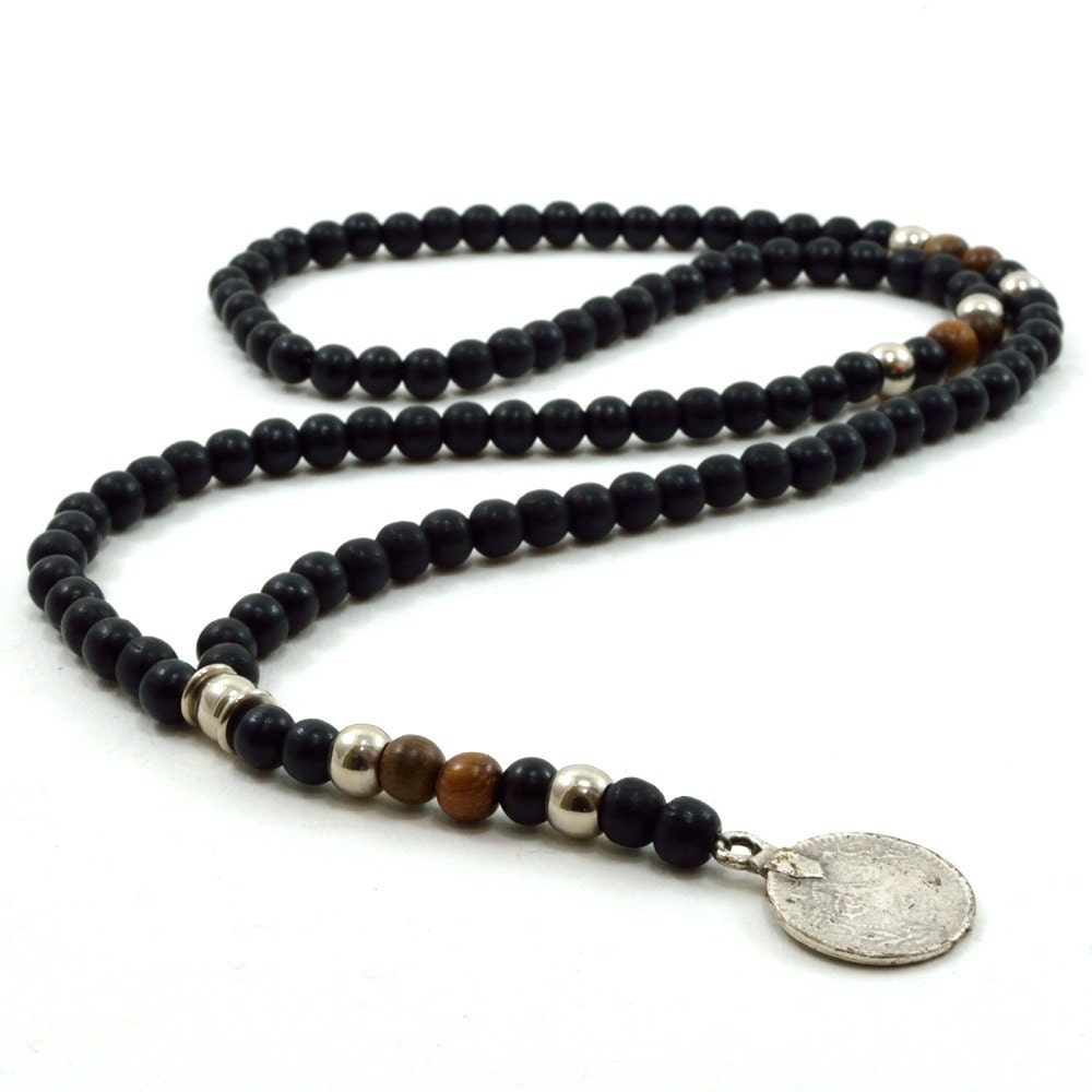 mens black wooden beaded rosary necklace with silver metal
