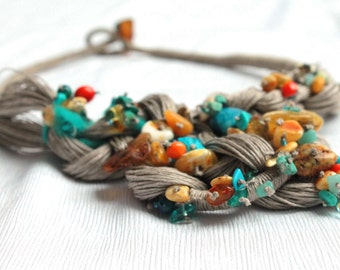 OOAK Bib Necklace Macrame Teal Orange Green Yellow Natural Stone Amber Agate Howlite Lapis Lazuli Coral Linen Tapestry