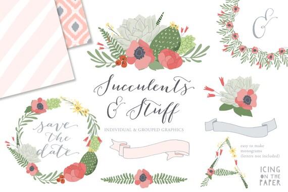 SALE - Succulents & Ikat Clipart - Succulent Clip Art - PNGs - Vector - Digital - Instant Download - Vector