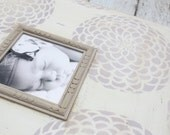 Zinnia Lavender Distressed Frame 5x75 in Versatile Grey trim and shades of Ombre