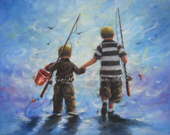 Two Little Boys Going Fishing Art Print two boys fishing childrens wall art boys room, kids decor, boy decor, two brothers fishing paintings