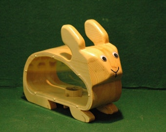 Wooden Bunny Bank with clear sides