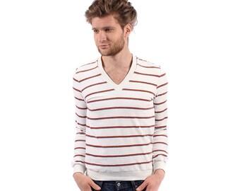 STRIPED Sweater . Vintage 70s Mens VELVET White Nautical Summer V Neck Retro 1970s Jumper Pullover Men Clothing . Small