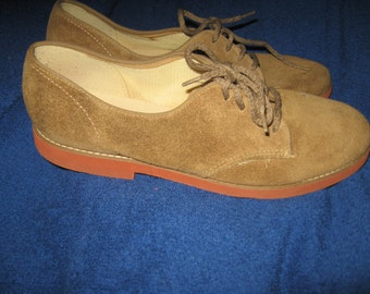 70s brown suede shoes oxfords laceups SZ 8   By PIMENTO