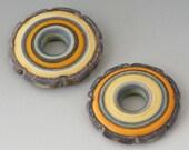 Rustic Discs - (2) Handmade Lampwork Beads - Yellow, Green