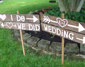 Wedding Sign I DO WE Did rustic 4 Barn wood Party ceremony decorations reception Signage w/ Stakes country outdoor reclaimed
