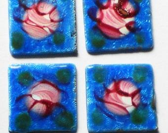 Vintage Guilloche Enamel Cabochons 13mm Square NOS Rose Floral Cloisonné #G19-O