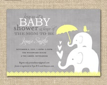 Elephant Baby Shower Invitation / Yellow and Grey Baby Shower Invitation / Elephant  Baby and Momma / PRINTABLE INVITATION / Item 10553y
