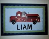 Firetruck hand painted canvas for boys room or nursery, 16x20