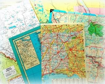 Vintage Atlas Pages / Daily Planner / 5 Pages / Journal / Vintage Maps / Scrapbook / Travel Ephemera