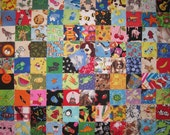100 Assorted 2 Inch Novelty/Childrens I Spy Squares..Tiny Fabric Squares-Tiny Fabric Scraps