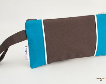 Modern Teal & Brown Clutch ***ON SALE***
