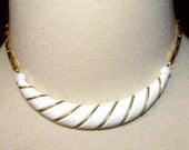 Vintage White Choker, Gold tone, Collar, Size Small, Medium, Original Tag, 1974