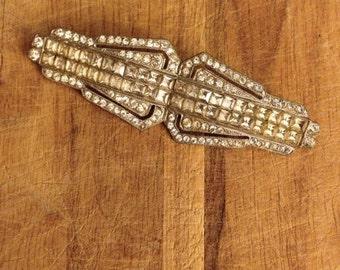 vintage. 60s Rhinestone Diamond Bar Pin Brooch