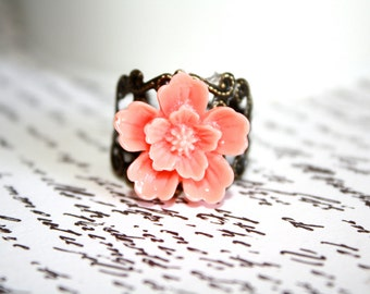Salmon Flower Ring, Adjustable Filigree Ring, Antique Bronze Ring, Cocktail Ring