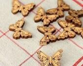 Set 28 Craft Ideas BUTTERFLY Natural Wood buttons