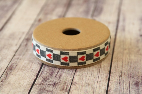 primitive Hearts on RED and BLACK fabric woven cotton blend ribbon