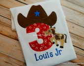 Birthday Cowboy Shirt with Horse and Number