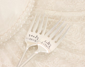 Beach Theme Wedding Sandy Toes Salty Kisses Wedding Table Setting, His and Hers Wedding Cake Forks - beach bride gift idea, MTO