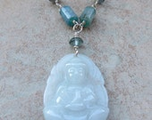Kyanite Necklace with Jade Buddha