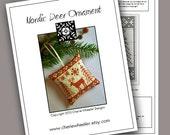 PDF Cross Stitch Pattern for Redwork Nordic Deer Ornament