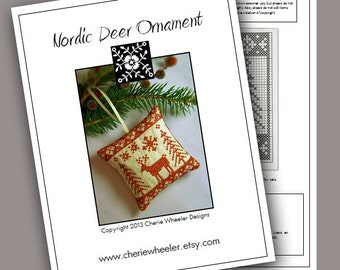 PDF Cross Stitch Pattern for Redwork Nordic Deer Ornament
