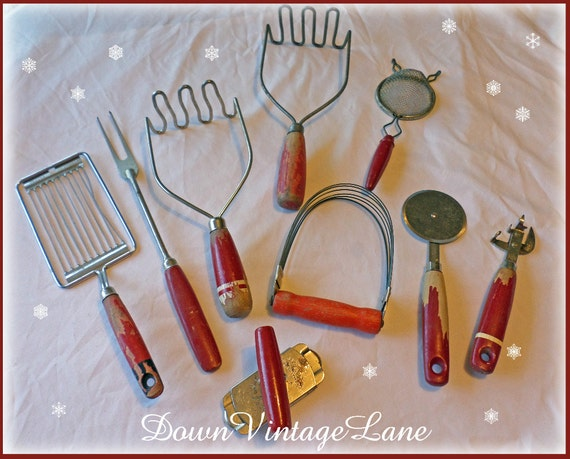 Lot Of 9 Red Vintage Kitchen Utensils Gadgets By Downvintagelane
