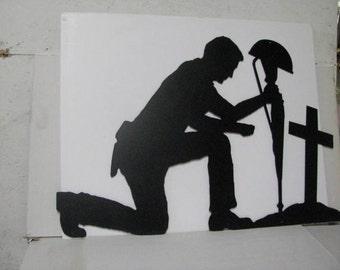 Soldier Praying XLarge Silhouette Metal Wall Yard Art