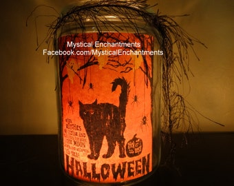 Halloween Black Cat Candle Holder Vintage style