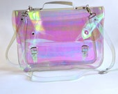 Large bag Number 3 Holographic Clear Vinyl Plastic Satchel crossbody strap (Handmade to Order)