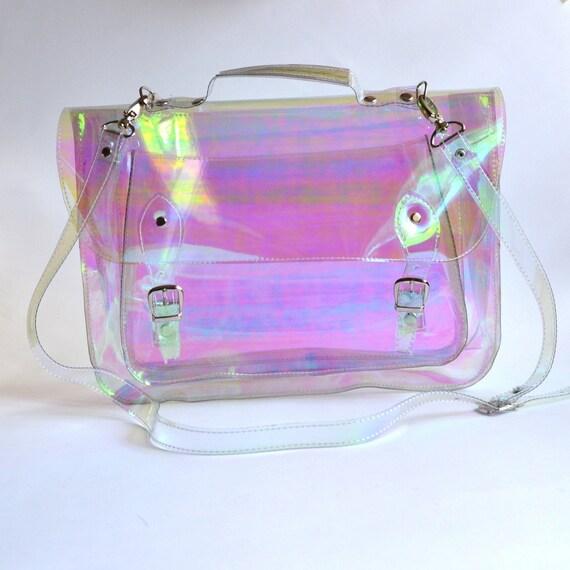 Large bag Number 3 Holographic Clear Vinyl Plastic Satchel