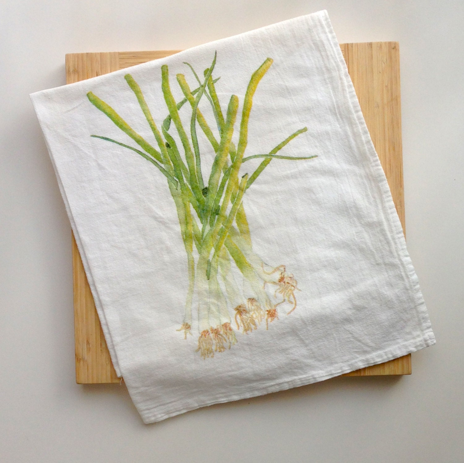 Green Onion Flour Sack Tea Towel Colorful Herb By