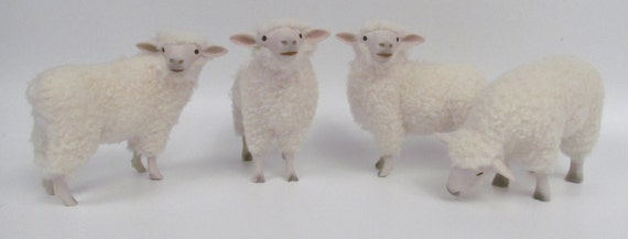Irish Galway Sheep Figurines in Porcelain and Wool
