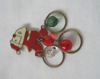 Retro metal & enamel vintage Santa brooch pin with beaded dangle rings