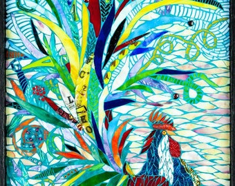 Mixed Media Mosaic, Her Fantasy Rooster Mosaic Art OOAK, Original design