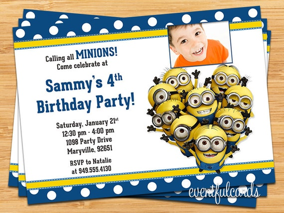 Minions Kids Birthday Party Invitation Printable Digital File by – Kids Birthday Party Invite