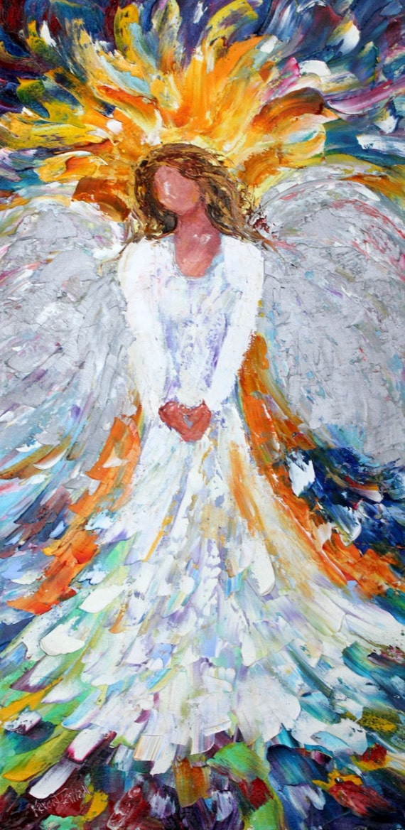 Reserved for Jason Original oil painting Angel of Light Portrait Palette knife modern impressionism impasto fine art by Karen Tarlton
