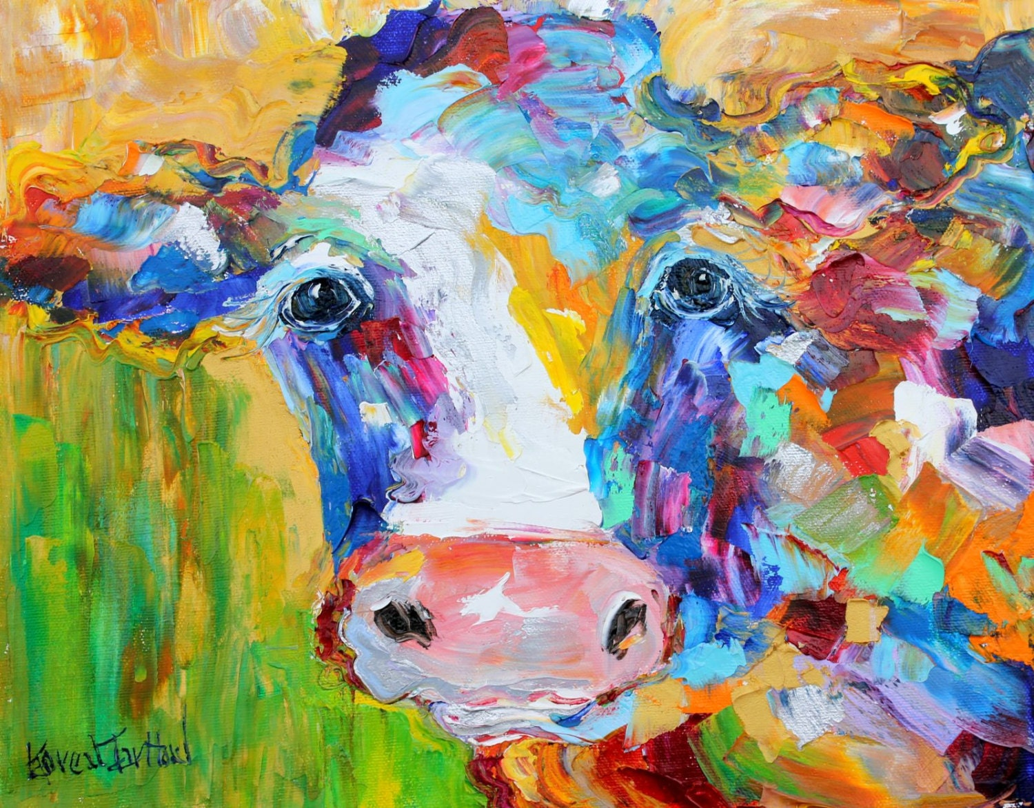 Original oil painting abstract cow farm animal impressionism for Abstract animal paintings