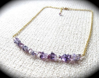 Purple Fluorite Gemstone Necklace