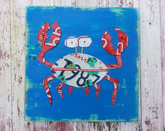 Blue Red Aqua CRAB - Beach Nautical Sailing -  Nursery Bathroom Playroom Recycled License Plate Art Sea Life Fish Customizable Personalized
