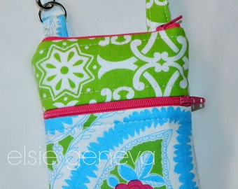 Ready to Ship Hot Pink Rose Phone Case Wristlet Optional Shoulder Strap Blue Lime Green iPhone 4 5 6 Plus Note Plaid