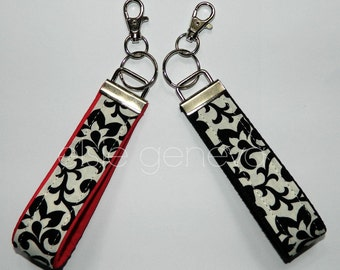 Black & White Damask / Floral Swirls Key Fob Wristlet or Red Underside Pink Yellow Purple Lavender Orchid Lime Green