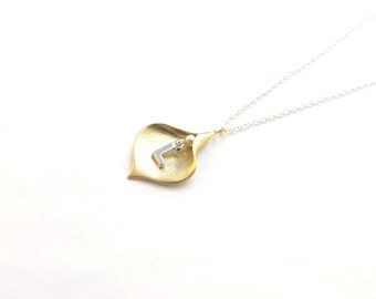 Calla Lily Initial Necklace, Personalized Flower Petal Necklace, Great Bridesmaids Gift, Two Toned Necklace, Gold And Silver Necklace