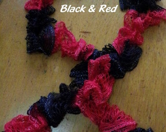 Black & Red Team colors- Hand Crocheted Ruffled Scarf