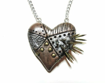 CLEARANCE half off. spiked industrial steampunk heart necklace valentines day gift