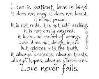 Love is patient love is kind 1 Corinthians 13 vinyl wall decal