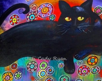Francis Loves Flowers Black Cat Original Art Print in several sizes